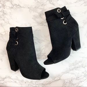 JustFab Black Peep Toe Heeled Remy Booties